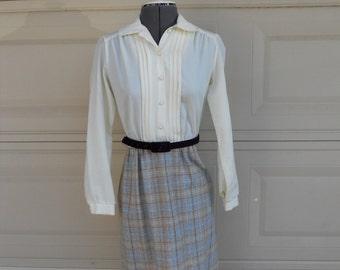 SALE 70s Day Dress . Preppy Tuxedo Dress . Crochet Lace Dress . Plaid XS, S