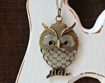 Owl necklace-Antique bronze owl necklace - Filigree owl necklace- Large owl necklace- Trendy necklace- Owl on a branch necklace