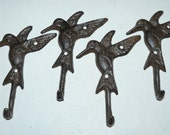 Lot of 4 vintage style Hummingbird cast iron hooks - 54-103