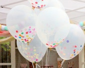 Clear Confetti Balloon Bouquet Set of 12 with Handmade Tassels - BonFortune