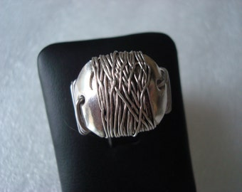 Sterling Silver Wire Wrapped Ring - R257- Size 7.75