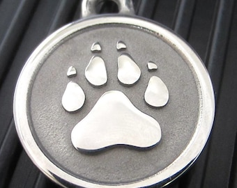 Large Stainless Steel Paw Print ID Tag