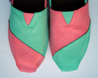 Ready to Ship - Womens Size 8.5 - Womens Custom Hand Painted TOMS in Mint Green and Coral