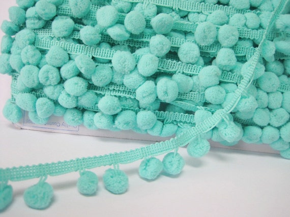 Pom Pom Trim, Mint Trim, Mint green trim, Mint pom pom trim, Trim ...