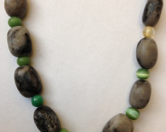 Glass and Stone: Handmade Necklace Featuring Stone & Glass Beads-- CLEARANCE PRICE