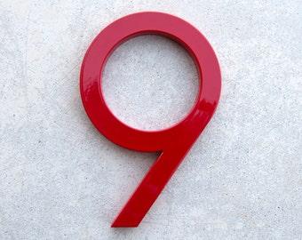 Modern House Number Aluminum Modern Font Number NINE  9 in RED