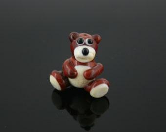 Little bear bead glass lampwork brown