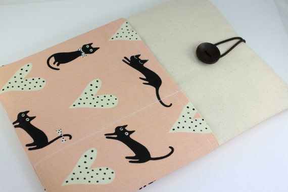 """Laptop Case, 13"""" MacBook Case, 13"""" MacBook Air Case, 13"""" MacBook Pro Case, PADDED, with 2 pockets - Black Cats with Hearts"""