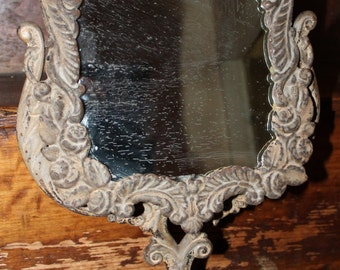 19th Century Cast Iron Tilting Dresser Top Mirror with Original Finish