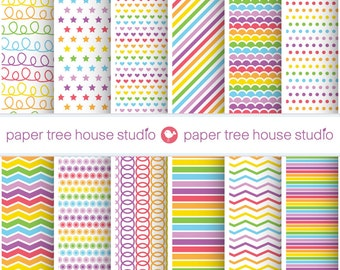 Digital Papers - Rainbow Stripes, Polka Dots, Stars, Hearts - Twelve 8.5 x 11 and 12 x 12 inch Print Ready Files - PNG Format - ID 1033