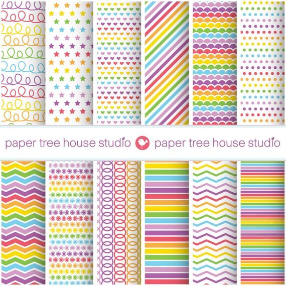 Digital Papers - Rainbow Stripes, Polka Dots, Stars, Hearts - Twelve 8.5 x 11 and 12 x 12 inch Print Ready Files - PNG Format - ID 1033