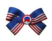 For the Littlest Republican- A GOP Hair Bow USA Flag Ribbon