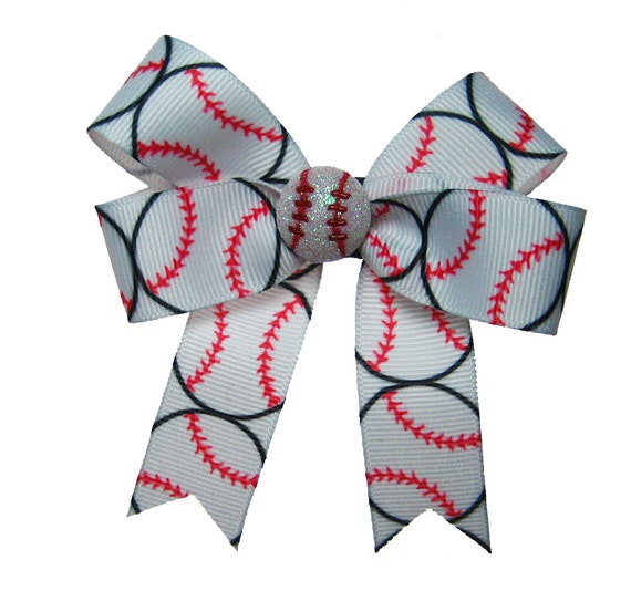 Baseball Sparkle Hair Bow