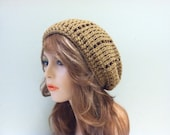 Crochet Slouchy Hat - WARM BROWN