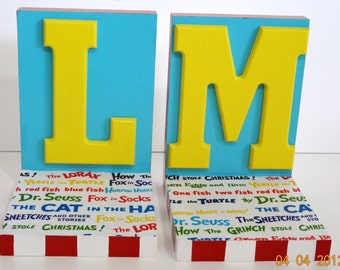 Childrens Bookends with Story Titles and Letter Personalization-Primary Colors