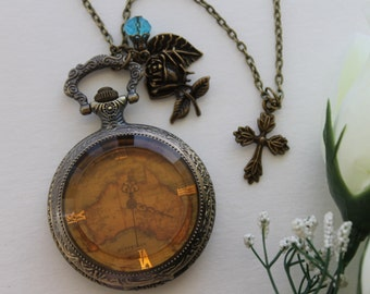 Steampunk Victorian Style Pocket Watch Necklace with Cross and Rose Flower Charm