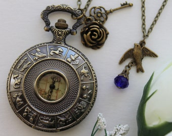 Steampunk Zodiac Constellation Pocket Watch Necklace with Rose Key, Rose Flower and Swallow Charm