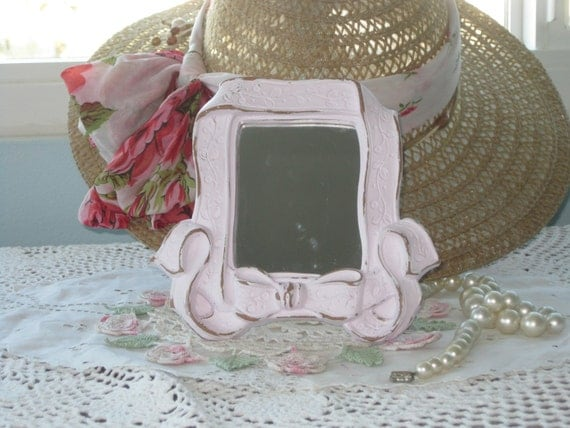 Hold for ET Shabby Cottage Petite Easel Back Mirror - Nursery Wall Mirror Ribbon Bow -  Homco Up-Cycled & Distressed in Lilac/