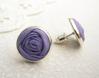 Rose Bud Earrings in Heliotrope Purple - Fabric Flower Silver Post Earrings