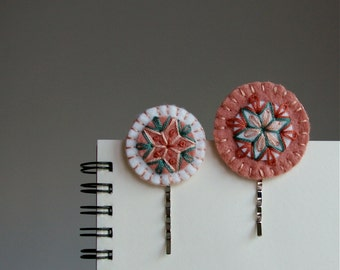 Wool Felt Bobby Pins ø Hand Embroidered ø Pretty Pink ø LoftFullOfGoodies