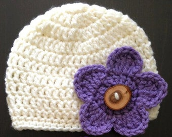 Crochet Beanie with Wooden Button & 3 Interchangeable Flowers (Newborn, 3-6 month, 6-12 month sizes) - knit, hat, baby, girl, photo