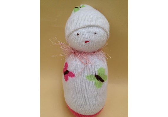Swaddled Baby Plush Rattle - White with Pink and Green Butterflies