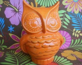 Neon Orange Ceramic Owl Bank - made from a vintage mold