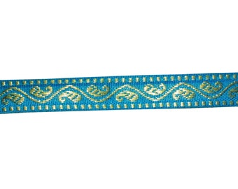 2 yardsblue and  gold   paisley design  decorative sari border