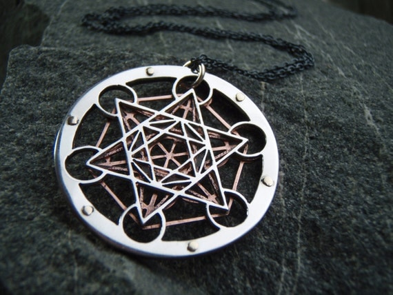 Metatron 39 s cube pendant sterling silver by for Metatron s cube jewelry