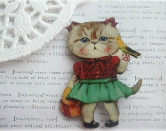 Girl Kitty Cat with Bird Brooch