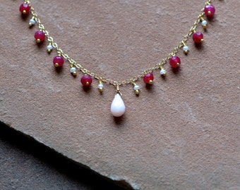 Pink Opal Necklace, Organic Pink Sapphires, Freshwater Seed Pearls, Delicate Gold Chain