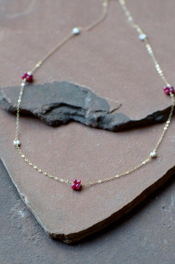 Ruby and Pearl Posy Necklace, Natural Ruby, Freshwater Pearls, 14k Gold Filled
