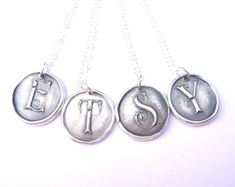 Personalized wax seal necklace hand stamped from fine silver in any letter