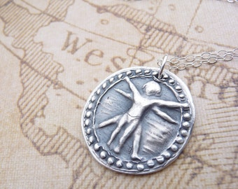 Da Vinci Vitruvian Man steampunk wax seal necklace, hand stamped in recycled silver