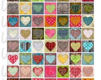 "1x1 Inch Hearts Color 1 Square Digital Download for 1"" Square (8x10)"