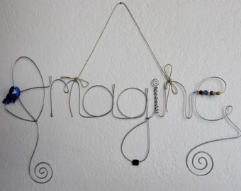 Imagine Wire Word Wall Hanging Photo Holder Picture Frame, Multi Picture Collage, Blue Bird, Wall Decoration, Unique Gift