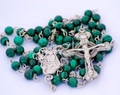 Malachite Gemstone Handmade Catholic Rosary with  Pewter Saint Patrick Center Medal and Claddagh Crucifix  OOAK