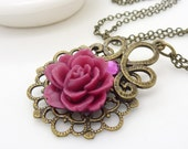 Burgundy pink flower necklace, dark pink rose necklace, antique bronze and brass victorian style crystal and resin flower jewelry