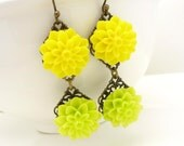 Neon yellow and green earrings, lime green bright yellow flower earrings, spring flower green resin flower antique bronze dangle earrings