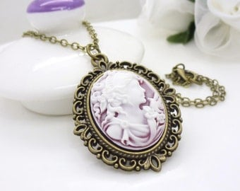 Pink cameo necklace, antique bronze, white and pink necklace, victorian cameo necklace, beaded jewelry