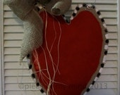 READY TO SHIP Valentine Day Burlap Door Hanger Really Big Heart