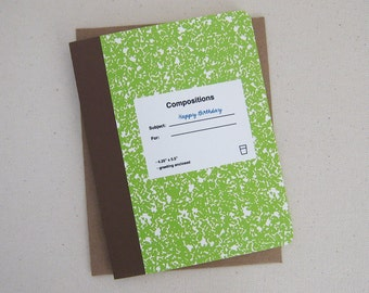 Green composition birthday day card