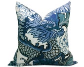 Pair of TWO Schumacher Chiang Mai Dragon pillow covers in China Blue