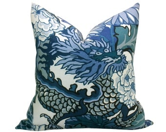 Schumacher Chiang Mai Dragon pillow cover in China Blue - ON BOTH SIDES