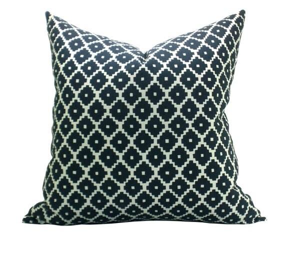 Schumacher Ziggurat pillow cover in Navy