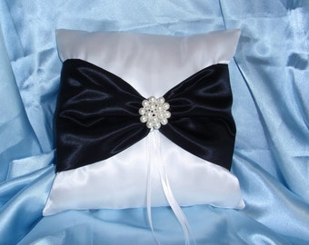 White Black Square Satin Ring Bearer Pillow Bow Rhinestones Pearl Pearls Wedding Bridal