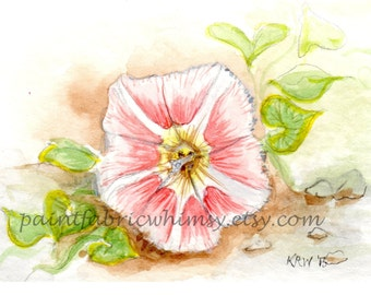 Original ACEO - Matted Miniature Watercolor Collectible - Beach Morning Glory