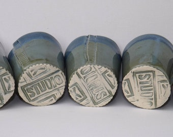 Set of 5 Tumblers in Green and Blue Ceramic Pottery OOAK