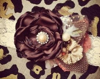 Caramel Brulee Shabby Chic Headband or Clip