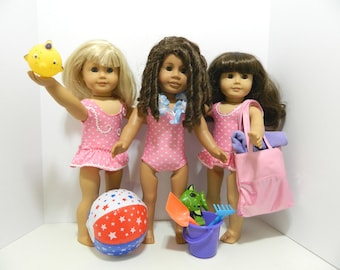 Super Sensational Swim Party for SIX American Girl, Bitty Baby and Similar Dolls